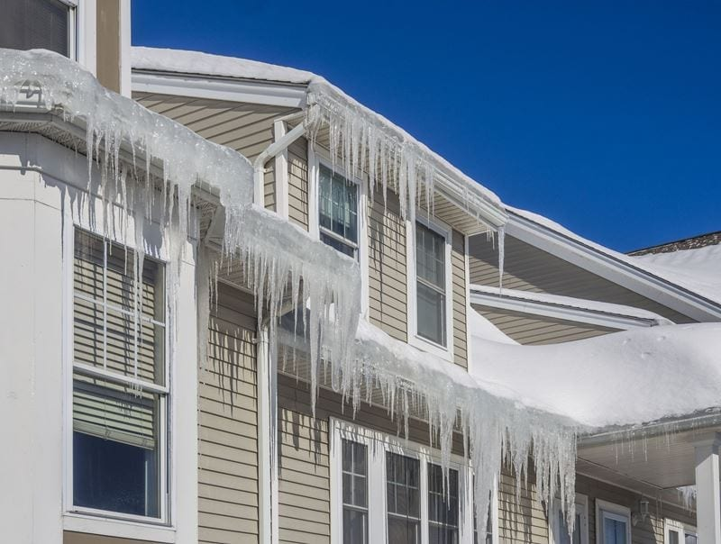 ice dams and snow on roof